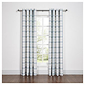 Woven Check Eyelet Curtains - Duck Egg - 66 X 90