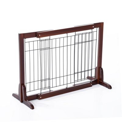 PawHut Wooden Flexible Pet Fence Free Standing Adjustable Secure Gate Wide 58-100 (cm)
