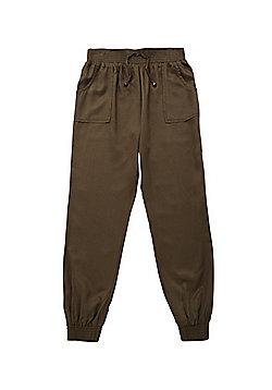 F&F Elastic Waist Cuffed Trousers - Khaki