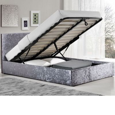 Happy Beds Berlin Crushed Velvet Fabric Ottoman Storage Bed with Open Coil Spring Mattress - Steel - 4ft Small Double