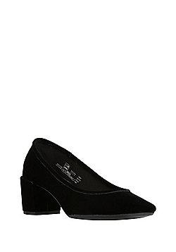 F&F Sensitive Sole Velour Block Heel Court Shoes - Black