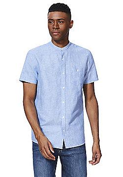 F&F Linen-Blend Grandad Collar Short Sleeve Shirt - Blue