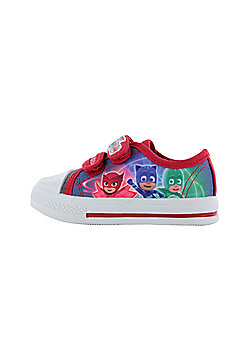 Boys P J Masks Blue & Red Low Top Canvas Trainers Sports Shoes UK Sizes 5-10 - Multi