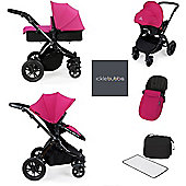 ickle Bubba V2 Stomp AIO Travel System with Safety Mosquito Net - Pink (Black Chassis)