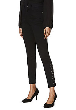 F&F Lace-Up Hem High Rise Skinny Jeans - Black