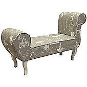 Lounger Bench / Chaise Chair - Grey / Cream