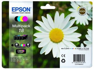 Epson C13T18064022 3.3ml 5.2ml 175pages 180pages Black Cyan Magenta Yellow ink