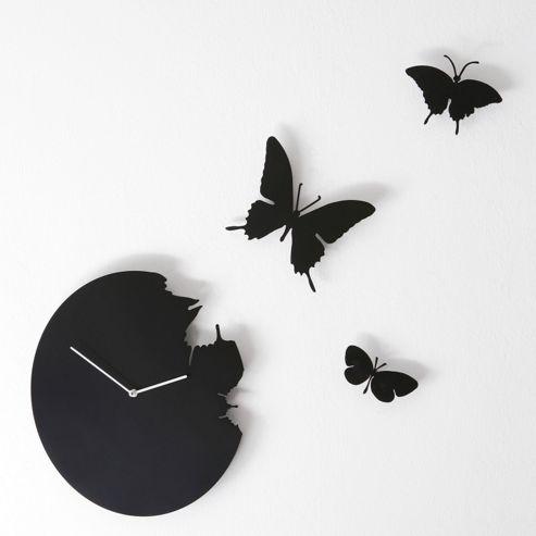 Diamantini & Domeniconi Butterfly Wall Clock in Black