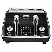 De'Longhi CTOM4003.BK Icona Micalite 4 Slice Toaster - Black