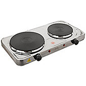 Lloytron E4203SS Kitchen Perfected Double Hotplate, 2500 W, Brushed Steel