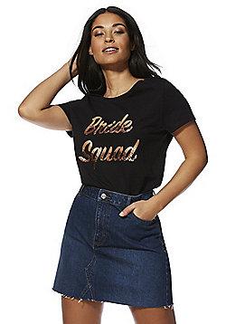 F&F Bride Squad Sequin Slogan T-Shirt - Black