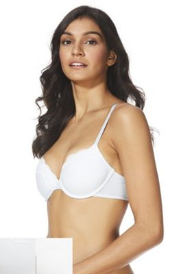 F&F 2 Pack of Lace Trim T-Shirt Bras Blue/White 38 D cup