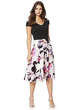 Roman Originals Floral Print Cold Shoulder Skater Dress - Black & Pink