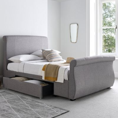 Happy Beds Bronte Fabric 2 Drawer Storage Bed with Open Coil Spring Mattress - Grey - 4ft6 Double