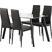 Abbey 47 Dining Set Clear Glass Top & Black Legs with 4 Black PU Chairs