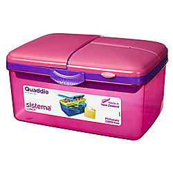 Sistema Large Pink Quaddie Lunch Box 2 Ltr