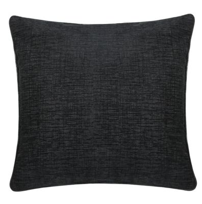 Modern Black Chenille Cushion Cross-hatch Design Woven Cover
