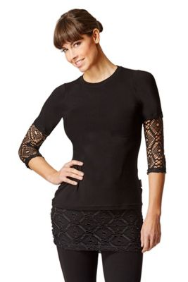 Yoga Long Sleeve T Shirt with Lace Insets Black-Lace S