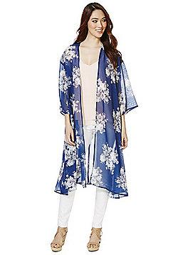 Mela London Floral Long Line Kimono - Navy