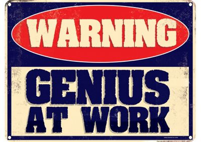 Warning Genius At Work Mini Tin Sign