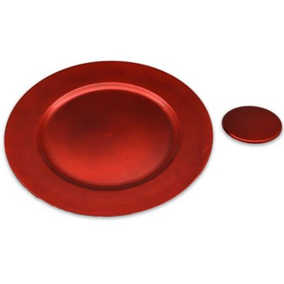 Round Charger Under Plates & Coasters Set In Red - Set Of 12