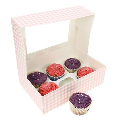 Cupcake Box - Pink Gingham - holds six