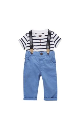 F&F Henley T-Shirt, Braces and Chinos Set Blue 3-6 months