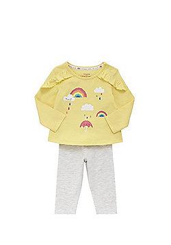 F&F Rainbow Print Long Sleeve T-Shirt and Leggings Set - Yellow & Grey