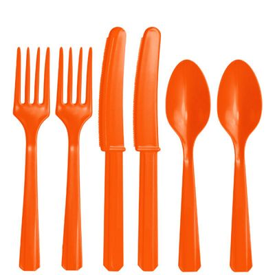 Orange Plastic Cutlery - Assorted Party Pack - 24 Pack