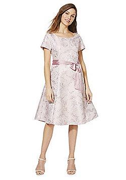 Solo Metallic Jacquard Dress with Belt - Pink