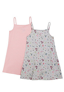 F&F 2 Pack of Skater and Striped Dresses - Multi