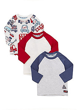 F&F 3 Pack of Transport Print and Contrast Sleeve T-Shirts - Multi
