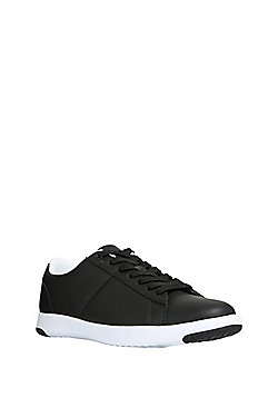 F&F Faux Leather Plimsolls - Black
