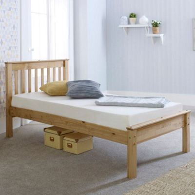 Happy Beds Chester Wood Low Foot End Bed with Pocket Spring Mattress - Waxed Pine - 3ft Single
