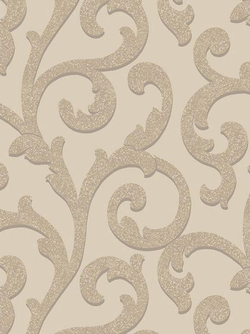Glitterati Scroll Glitter Wallpaper Mink Arthouse 892401