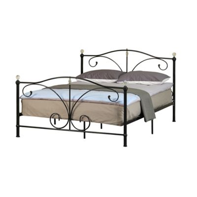 Comfy Living 5ft King Classic Metal Bed Stead Crystal Finials in Black with Damask Sprung Mattress