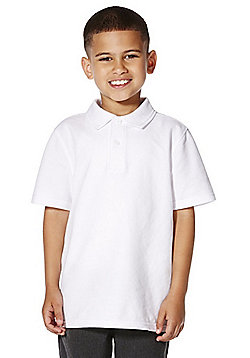 """F&F School 2 Pack of Boys Teflon EcoElite""""™ Polo Shirts with As New Technology - White"""