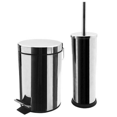 buy bathroom pedal bin and toilet brush set 3 litre bin. Black Bedroom Furniture Sets. Home Design Ideas