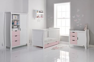 Obaby Stamford Cot Bed 3 Piece Nursery Room Set - White with Eton Mess (Pink)