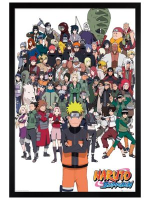 Naruto Black Wooden Framed Shippuden Group Poster 61x91.5cm