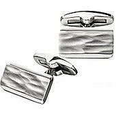 Fred Bennett Rectangle Stainless Steel Cufflinks with Brushed finish Central Texture and Bevelled Edges - V532