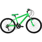 "Freespirit Chaotic 24"" Wheel 6spd Junior Mountain Bike Neon Green"