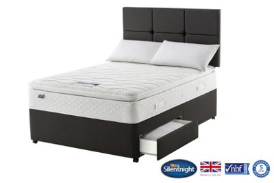 Silentnight Knightsbridge Double Divan Bed with 2 Drawers, Miracoil Geltex Pillowtop