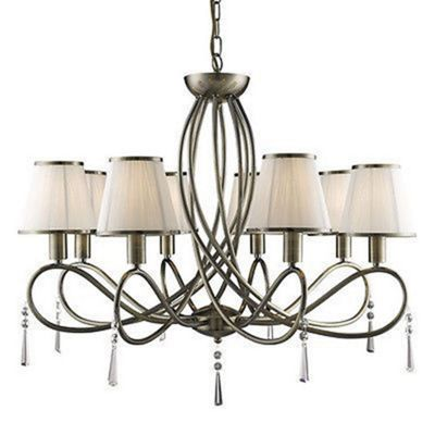 SIMPLICITY 8 LIGHT CEILING, ANTIQUE BRASS WITH GLASS DROPS AND CREAM STRING SHADES