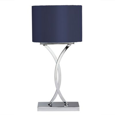 Litecraft Ralph 1 light Table Lamp with Blue shade - Chrome