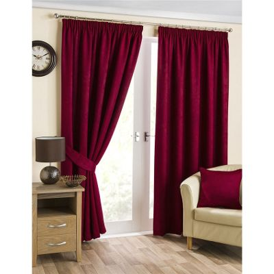 Hamilton McBride Belvedere Lined Pencil Pleat Cranberry Curtains - 46x54 Inches (117x137cm)