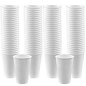 White Cups - 355ml Plastic Party Cups - 100 Pack