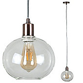 Designer Style Suspended Ceiling Light with Clear Glass Shade, Copper