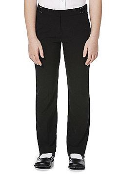 F&F School Girls Side Belted Trousers - Black