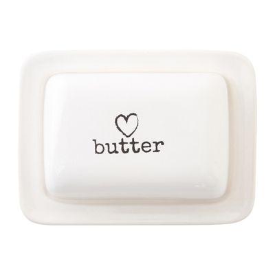 Premier Housewares Charm Butter Dish, White